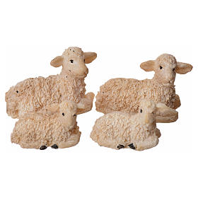 Nativity figurine, resin sheep, 4 pieces 8cm s1