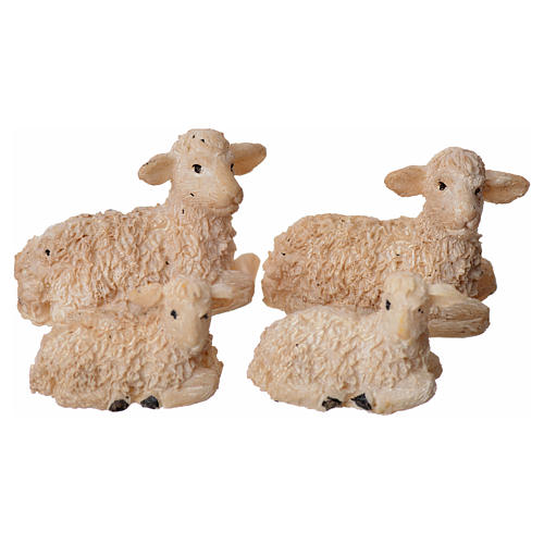 Nativity figurine, resin sheep, 4 pieces 8cm 1