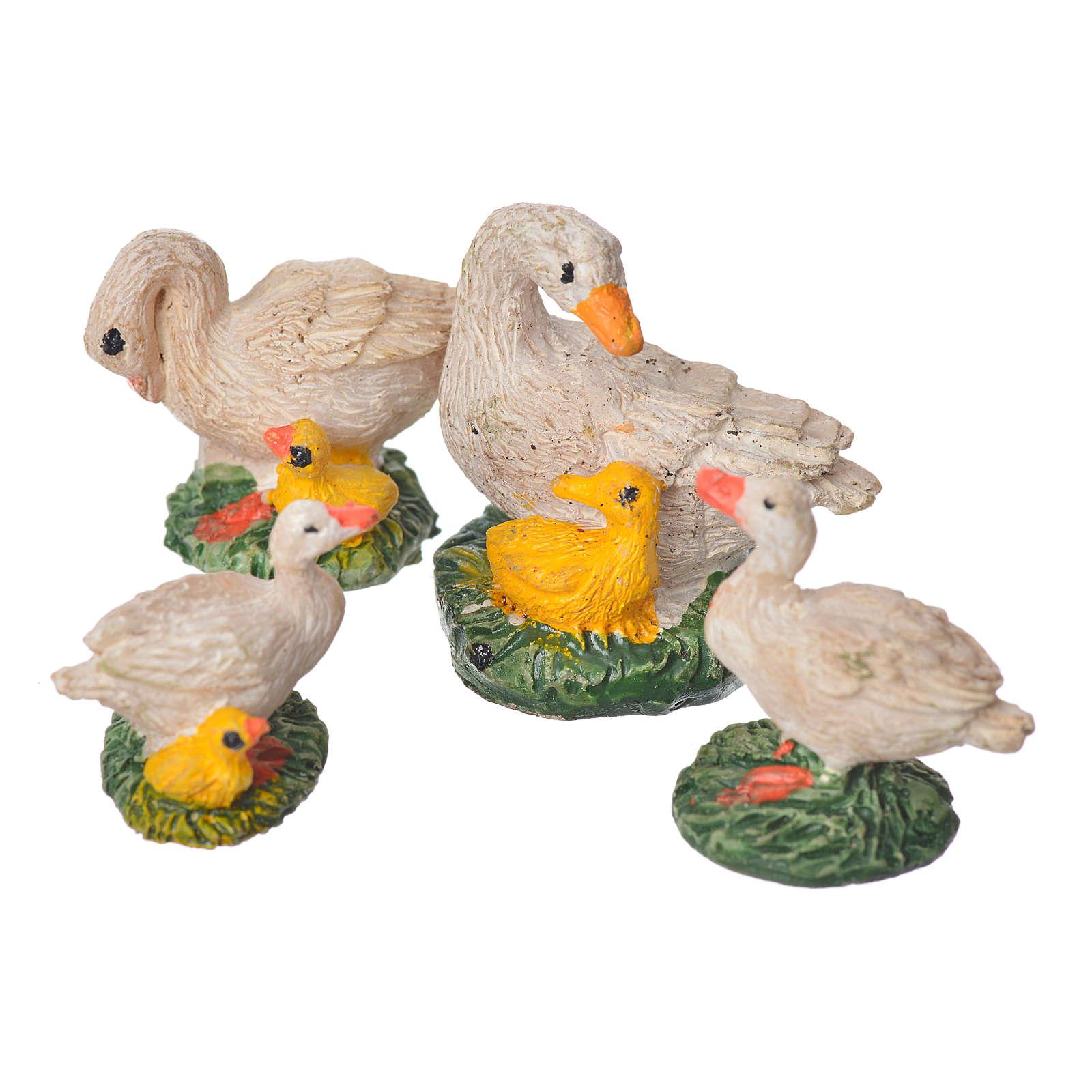 Canards en résine pour crèche 10 cm 4pcs 3