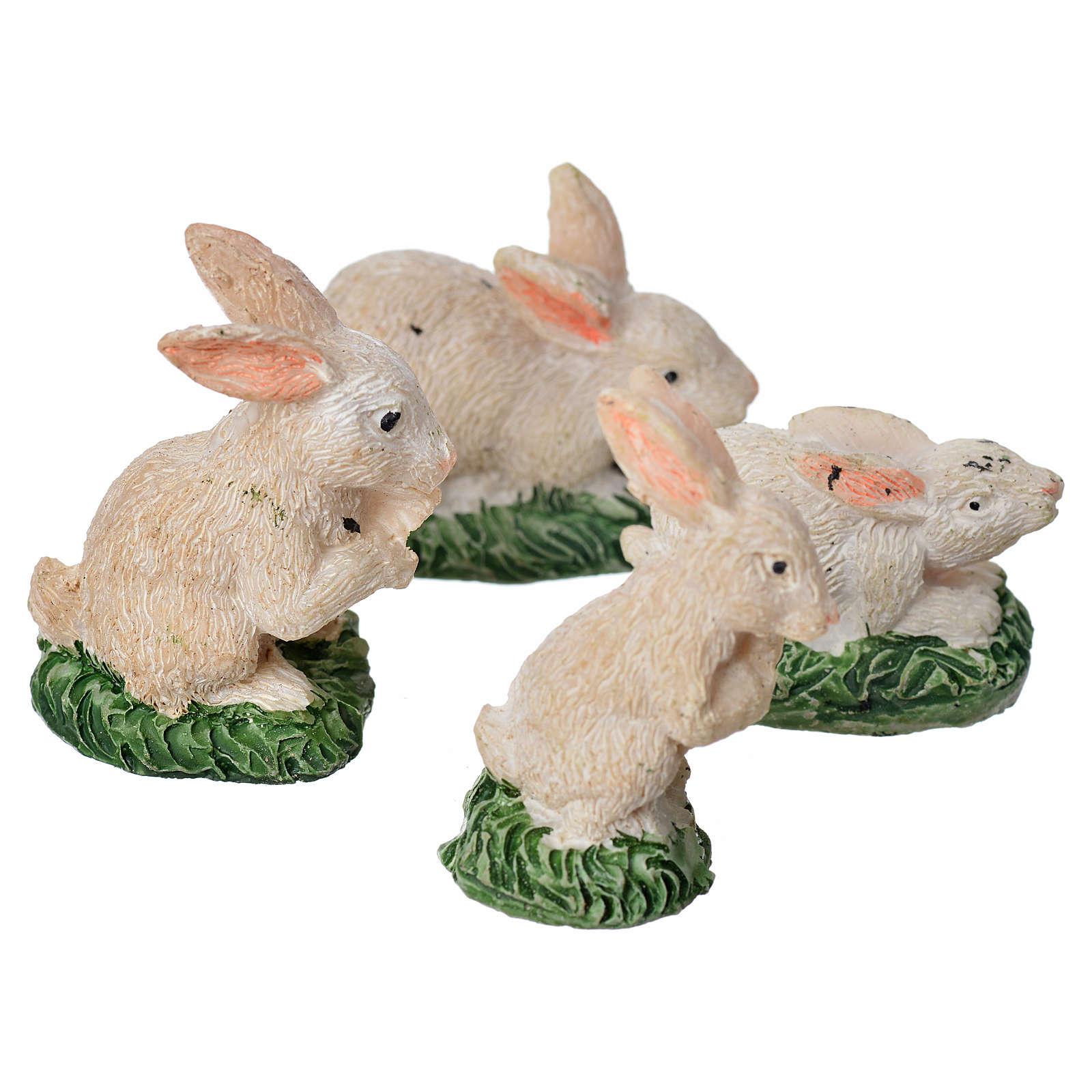 Nativity figurine, resin rabbits, 4 pieces 10cm 3