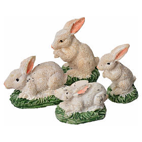 Nativity figurine, resin rabbits, 4 pieces 10cm s1