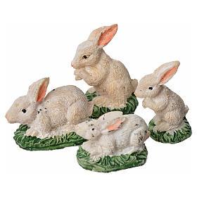 Conigli in resina 4 pz 10 cm s1
