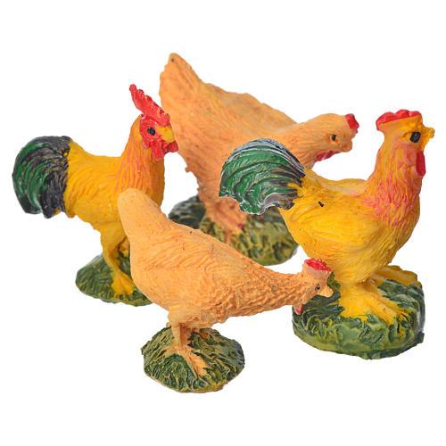 Nativity figurine, cocks and hens, 4 pieces 10cm 2