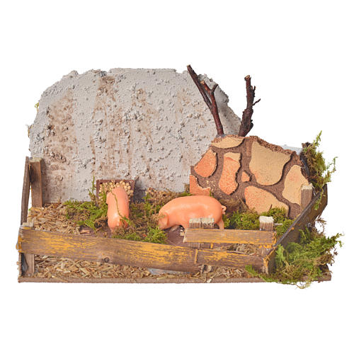 Nativity figurine, corral with pigs and sound 1