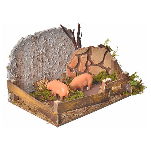 Nativity figurine, corral with pigs and sound 2