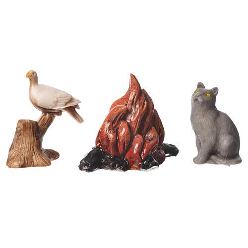 Tiere und Lagerfeuer 5St. für 10cm Krippe Moranduzzo 2