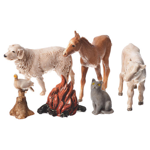 Nativity Scene animals and wood fire by Moranduzzo 10cm, 5 pieces 1