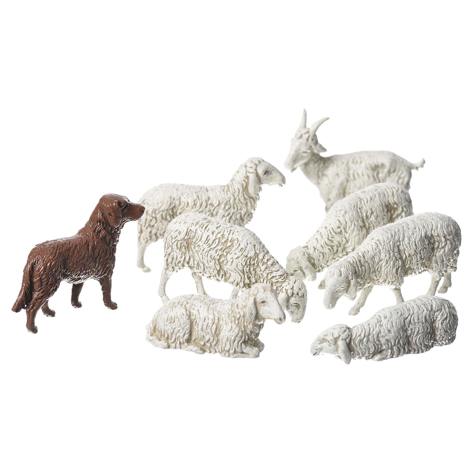 Nativity Scene goat dog and sheep by Moranduzzo 10cm, 8 pieces 4