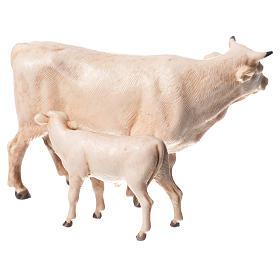 Vaca y ternero para belén de Moranduzzo con estatuas de 8 cm s2