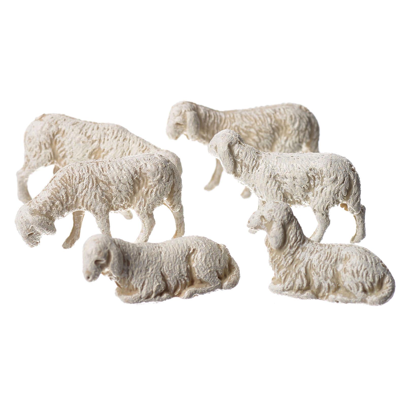 Ovelhas 6 peças para Presépio Moranduzzo com figuras de pastor de altura média 3,5 cm 4