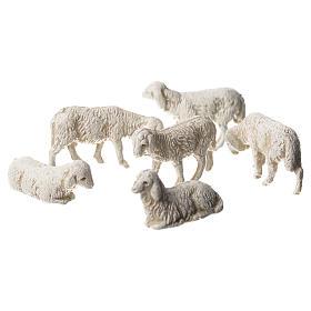Ovelhas 6 peças para Presépio Moranduzzo com figuras de pastor de altura média 3,5 cm s1