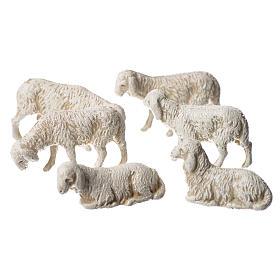 Ovelhas 6 peças para Presépio Moranduzzo com figuras de pastor de altura média 3,5 cm s2