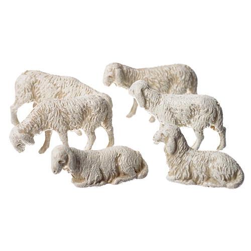 Ovelhas 6 peças para Presépio Moranduzzo com figuras de pastor de altura média 3,5 cm 2