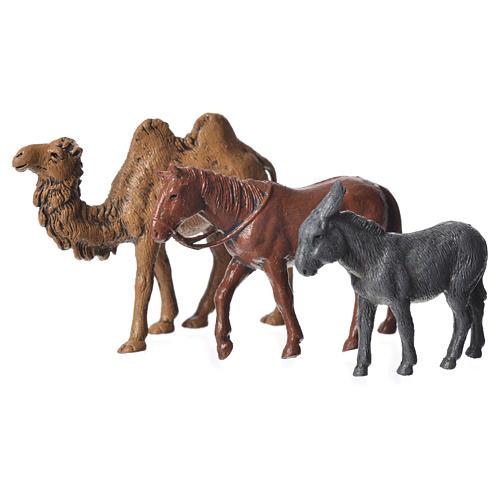 Camelo, burro e cavalo para presépio Moranduzzo figuras altura média 6 cm 1
