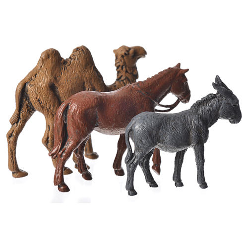 Camelo, burro e cavalo para presépio Moranduzzo figuras altura média 6 cm 2