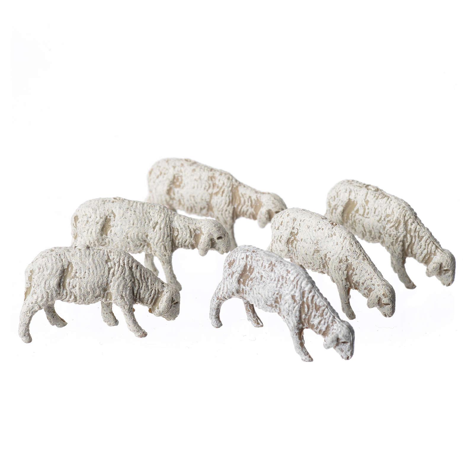 Ovelhas 6 peças para Presépio Moranduzzo com figuras de altura média 6 cm 4