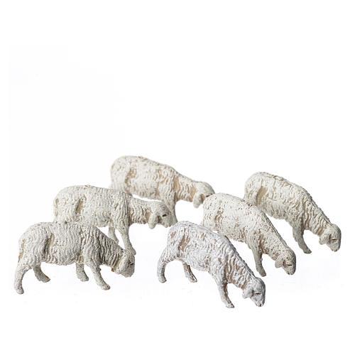 Ovelhas 6 peças para Presépio Moranduzzo com figuras de altura média 6 cm 1