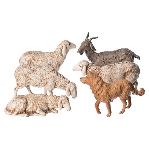 Ovejas, cabra y perro 6 figuras para Belén de Altura Media 13 cm Moranduzzo 1