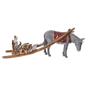 Donkey with cart, figurine for nativities of 10cm by Moranduzzo s1
