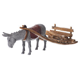 Donkey with cart, figurine for nativities of 10cm by Moranduzzo s2