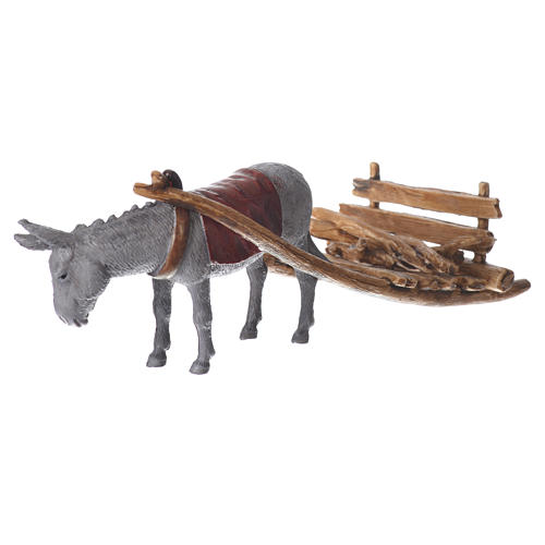 Donkey with cart, figurine for nativities of 10cm by Moranduzzo 2