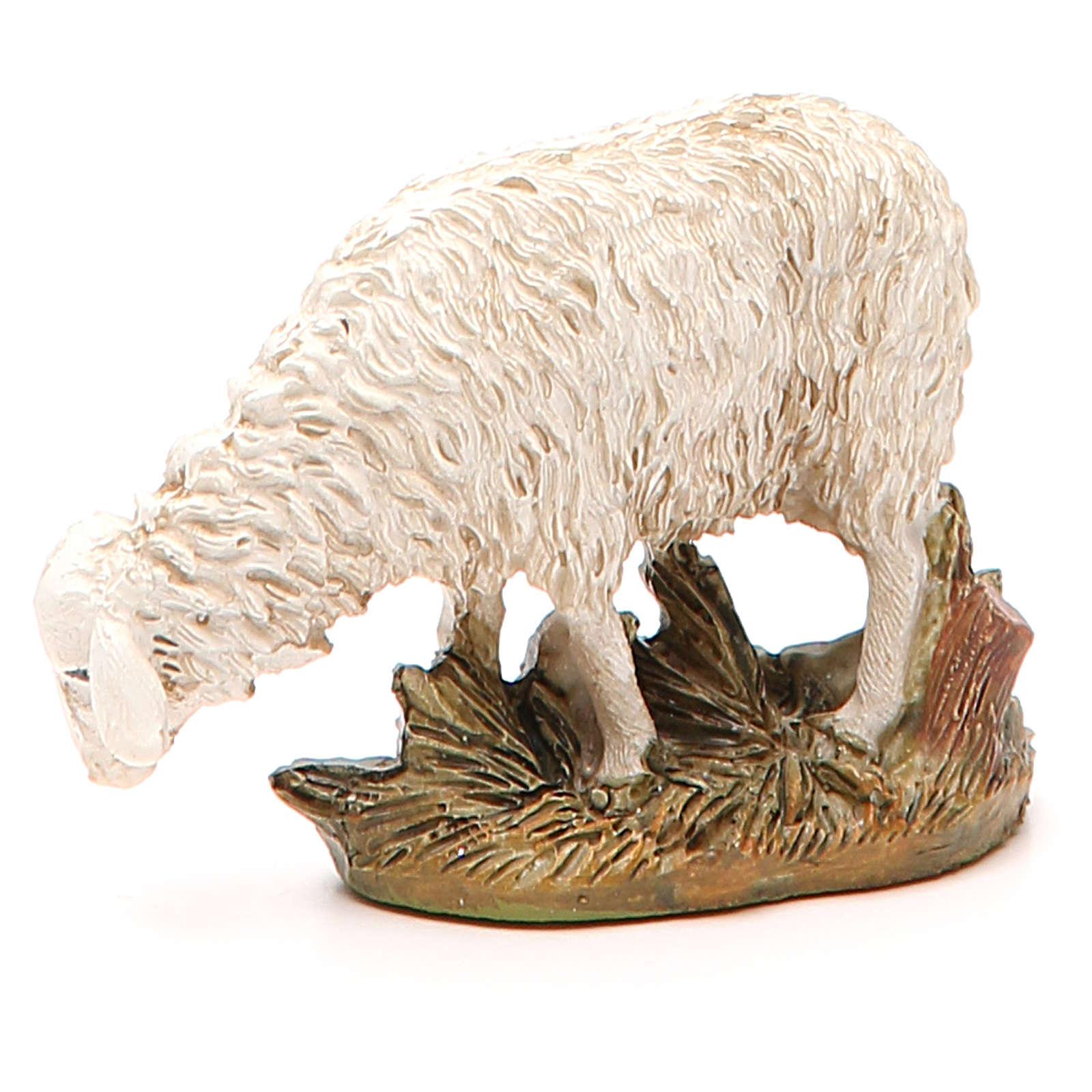Sheep looking down in painted resin, 12cm Martino Landi Nativity 3