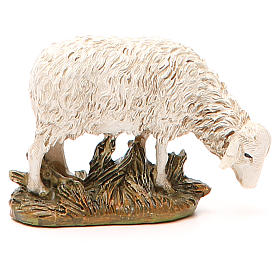 Sheep looking down in painted resin, 12cm Martino Landi Nativity s2