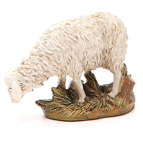 Sheep looking down in painted resin, 12cm Martino Landi Nativity 1