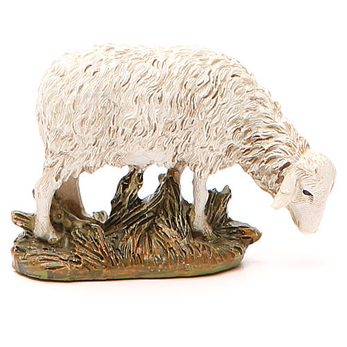 Sheep looking down in painted resin, 12cm Martino Landi Nativity 2