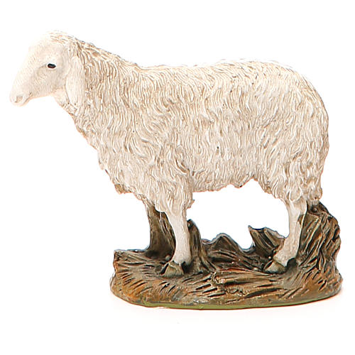 Sheep looking up in painted resin, 12cm Martino Landi Nativity 1