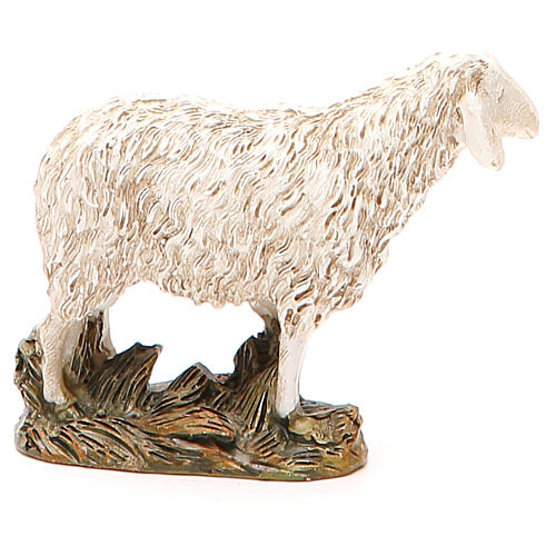 Sheep looking up in painted resin, 12cm Martino Landi Nativity 2