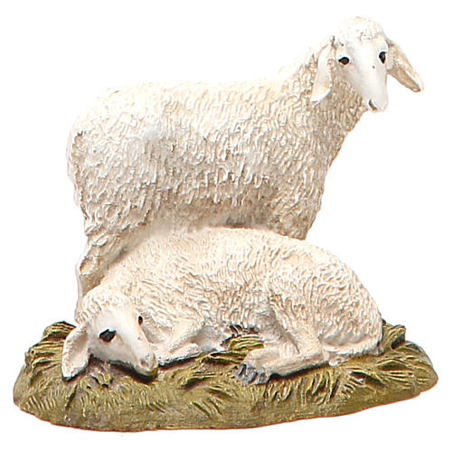 Flock of 2 sheep in painted resin, 10cm Martino Landi Nativity 1