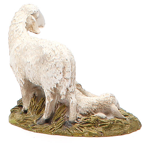 Flock of 2 sheep in painted resin, 10cm Martino Landi Nativity 2
