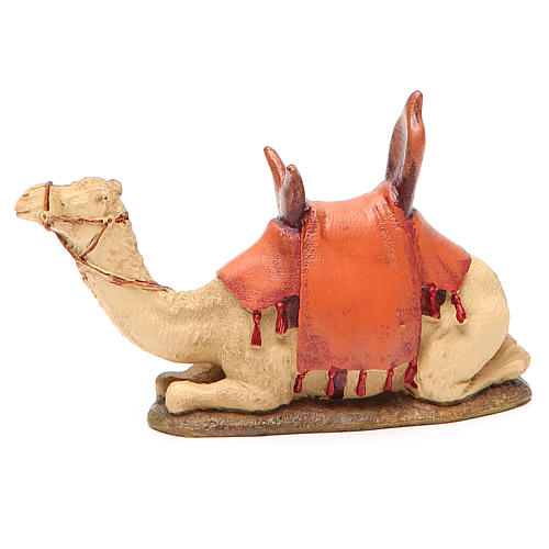 Sitting camel in painted resin, 10cm Martino Landi Nativity 1