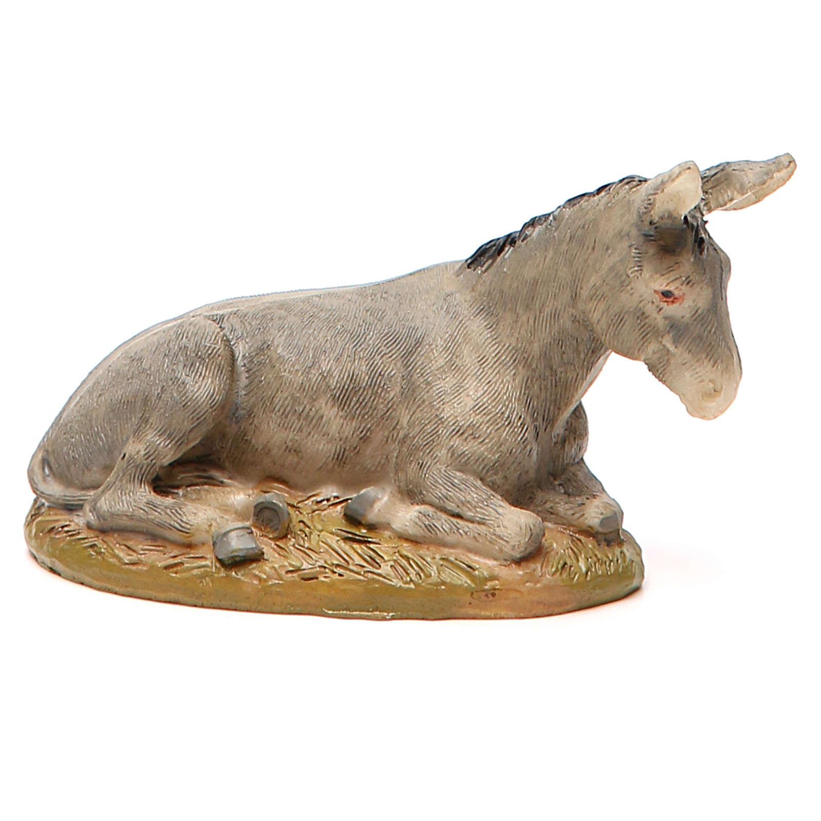 Nativity Donkey in painted resin, 10cm Martino Landi 3