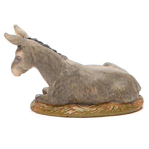 Nativity Donkey in painted resin, 10cm Martino Landi 2
