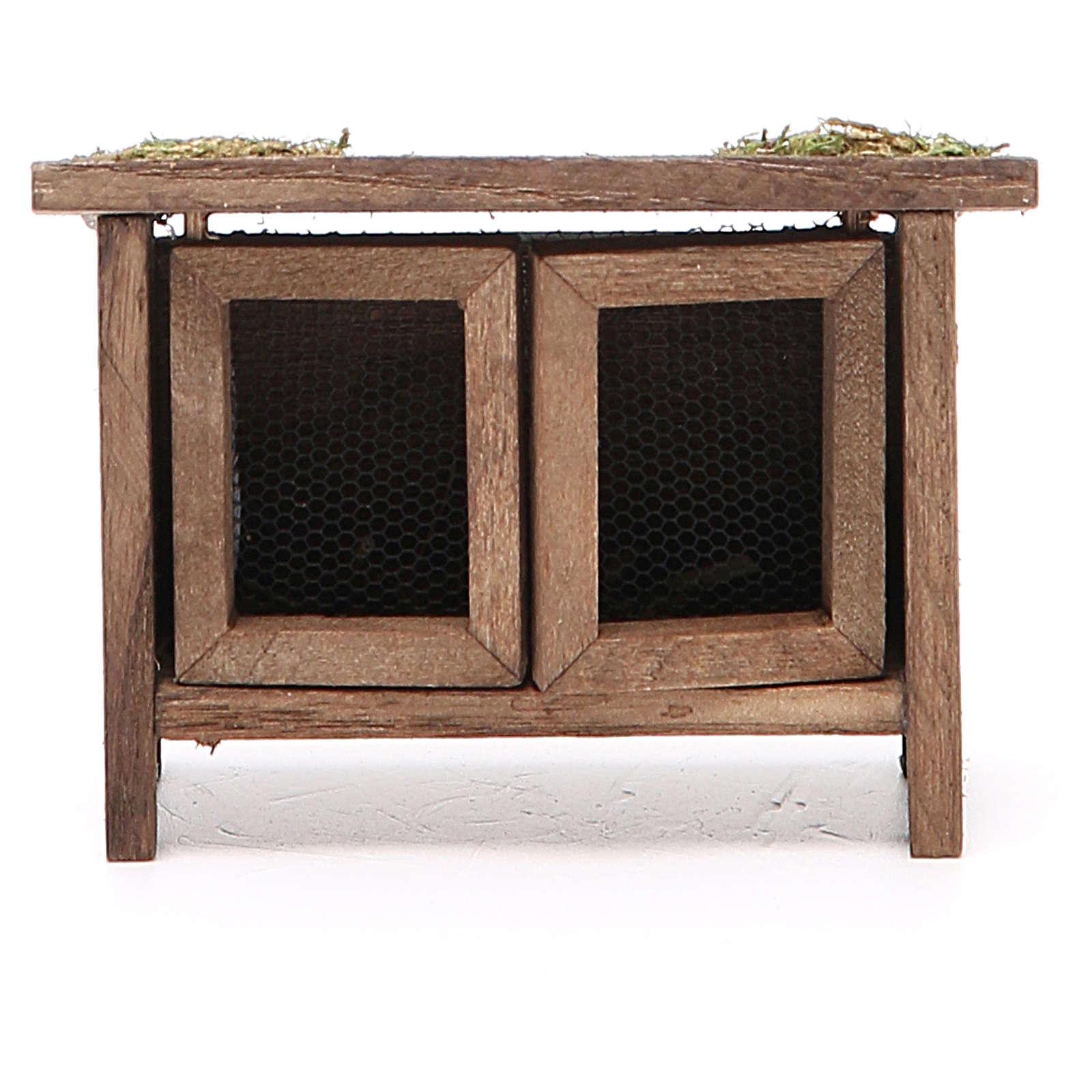 Conigliera in legno per presepe h. 6x7x3 cm 3
