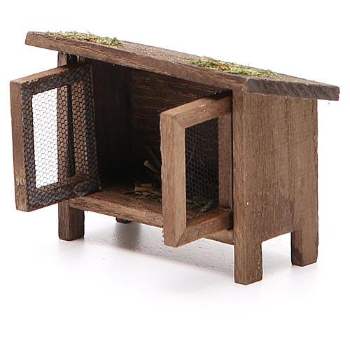 Conigliera in legno per presepe h. 6x7x3 cm 2