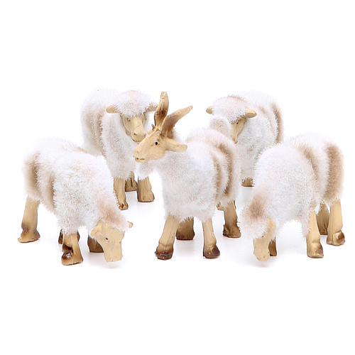 Pecore in resina peluche cm 8/10 assortiti 5 pezzi 1