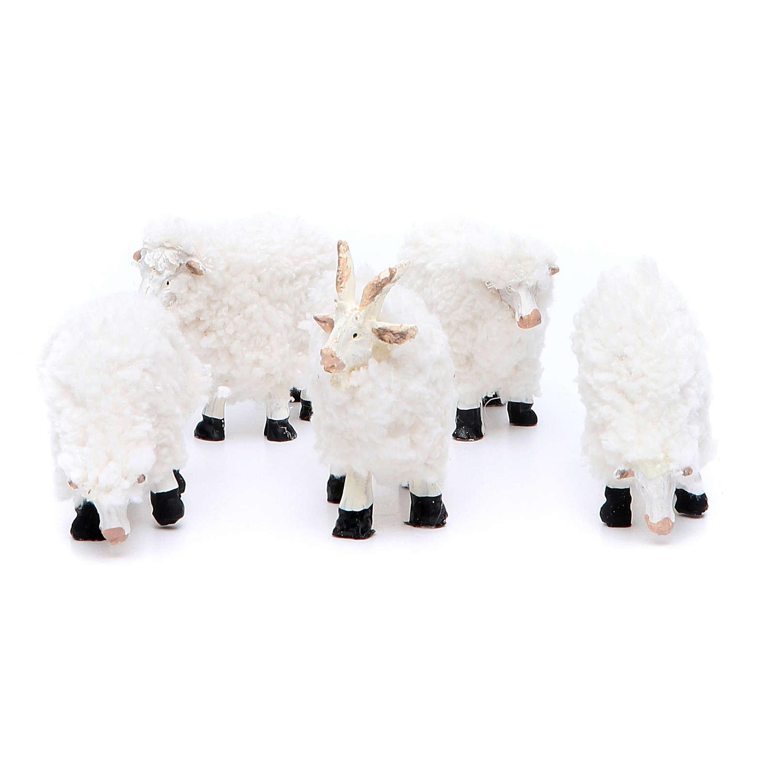 Pecora in resina e lana cm 8/10 confezione 5 pezzi 3