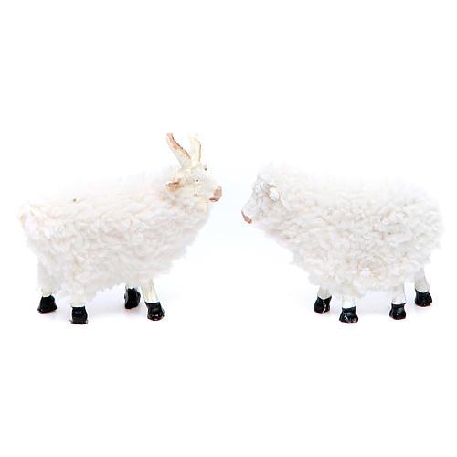 Pecora in resina e lana cm 8/10 confezione 5 pezzi 2