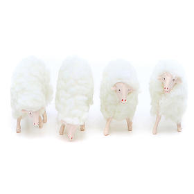 Sheep in resin and white wool 10 cm 4 pcs s1