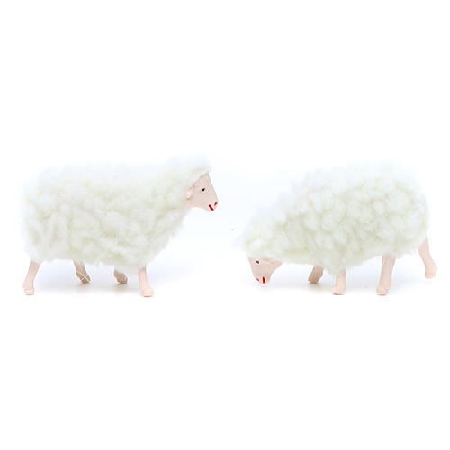 Sheep in resin and white wool 10 cm 4 pcs 2