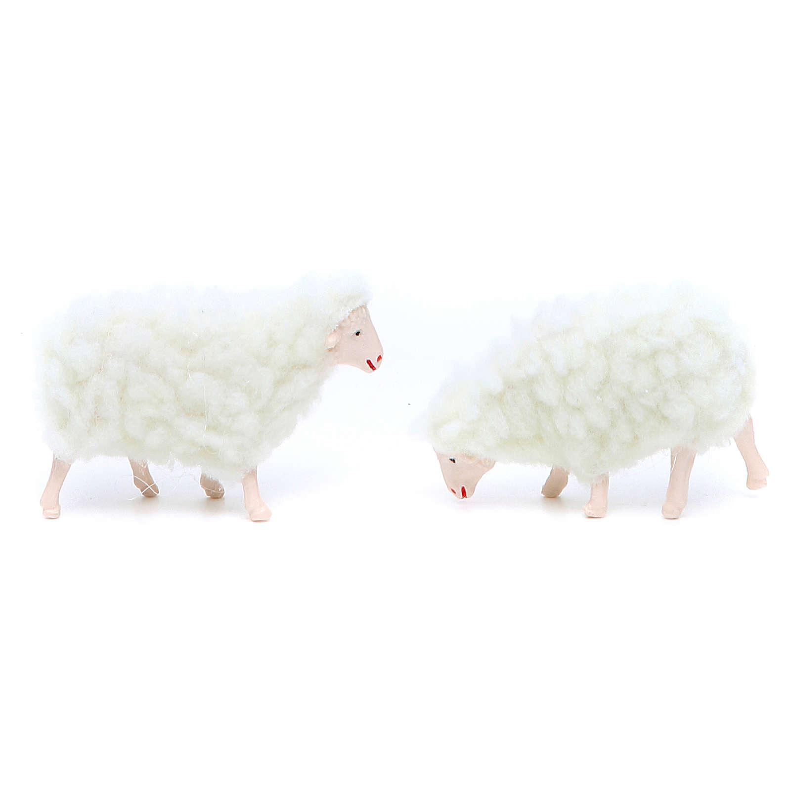 Oveja de pvc y lana blanca 4 piezas 10 cm de altura media 3