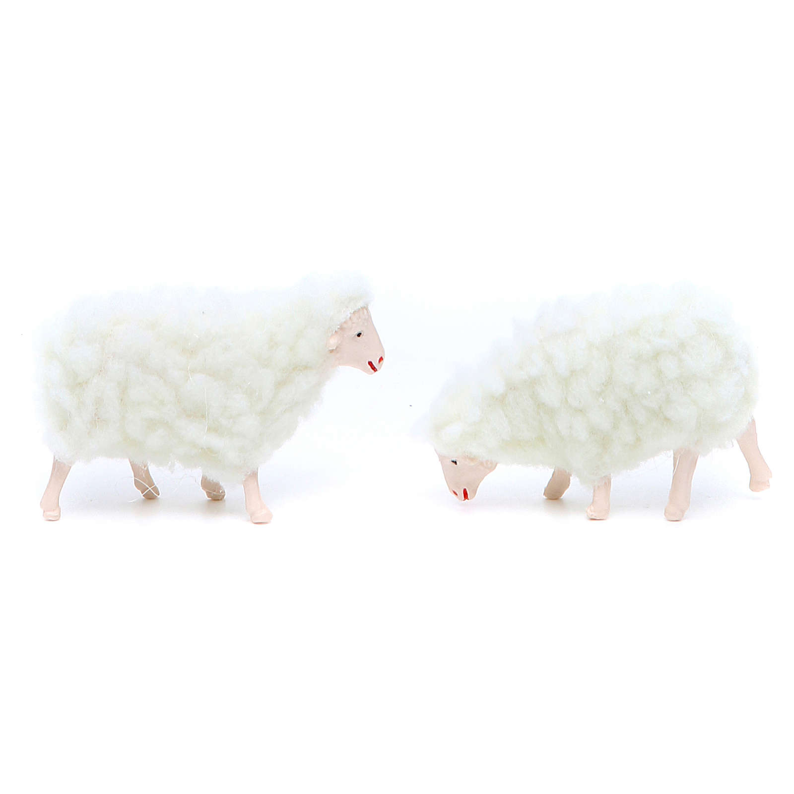 Pecora in pvc e lana bianca 4 pezzi 10 cm 3