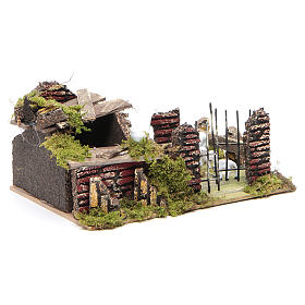 Sheep corral with sheep 9.5X20X14cm, nativity setting s3