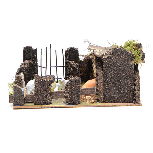 Sheep corral with sheep 9.5X20X14cm, nativity setting 4