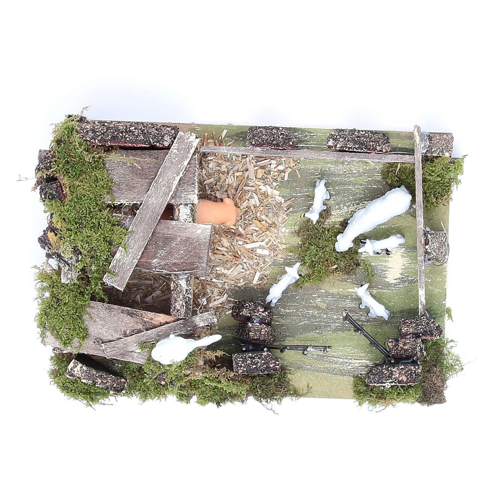 Corral con ovejas 9,5x20x14 cm para belén 3