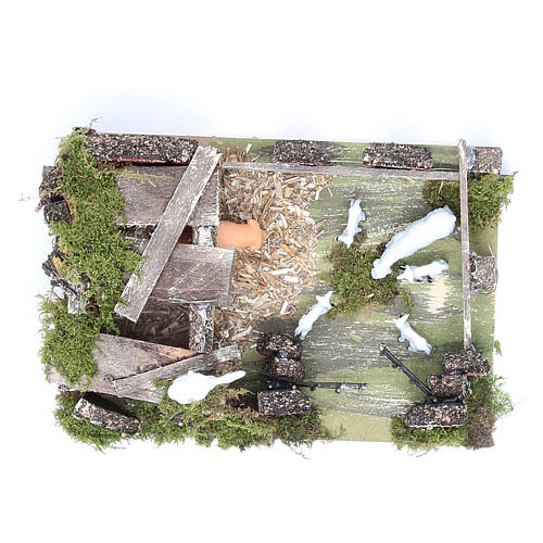 Sheep corral with sheep 9.5X20X14cm, nativity setting 5