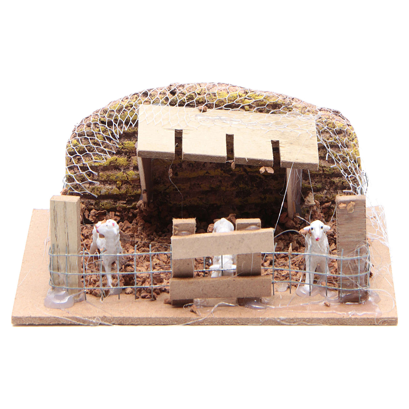 Sheep corral with sheep 6x14.5x11cm, nativity setting 3